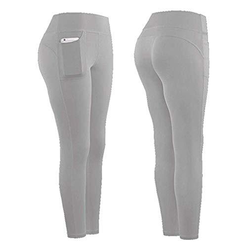 kolila High Waist Yoga Pants,Tummy Control, Sports Workout Pants for Women 4 Way Stretch Yoga Leggings with Pockets (Gray,L)