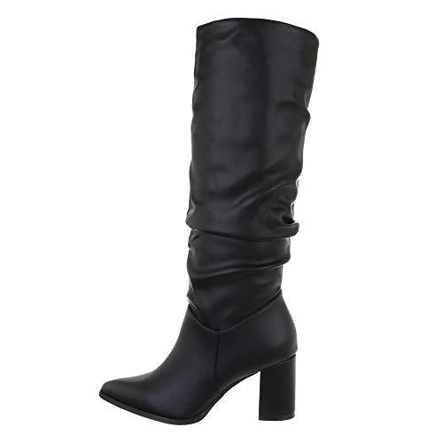 Ital Design Damenschuhe Stiefel High Heel Stiefel Synthetik Schwarz Gr. 40