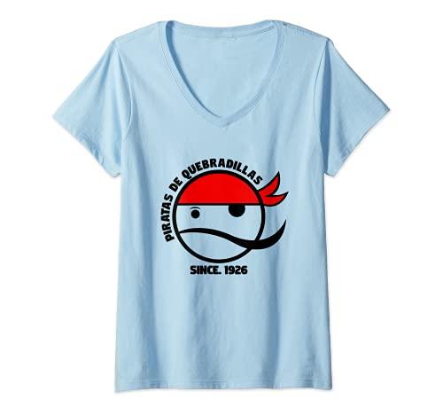 Womens Piratas De Quebradillas Basketball Retro Design V-Neck T-Shirt