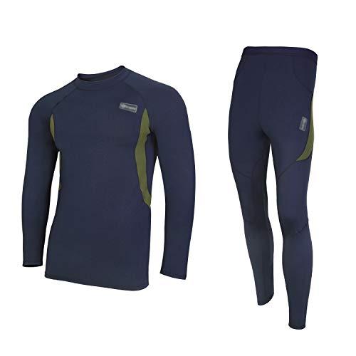 UNIQUEBELLA Thermounterwäsche Set, Funktionswäsche Herren Skiunterwäsche Winter Suit Ski Thermo-Unterwäsche Thermowäsche Unterhemd + Unterhose (Dunkelblau, M)