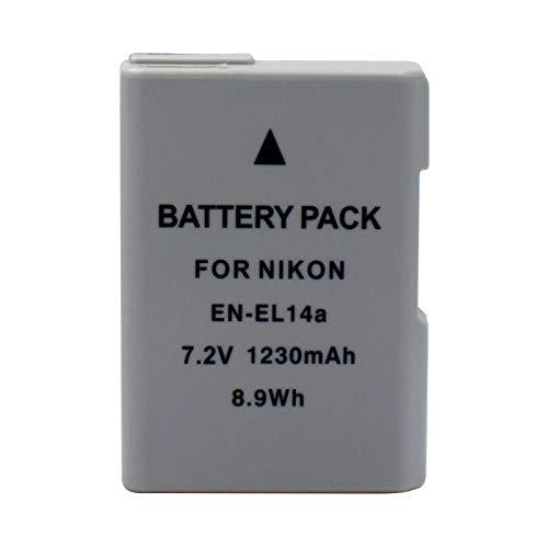 Styleart EN-EL14A 1230mAh 7.2V Batería Recargable de Iones de Litio para cámara Nikon D3100 / D3300 / D5100 / D5500 / DF/Coolpix P7100 / Coolpix P7800 2pcs