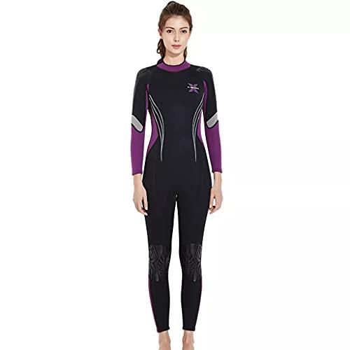TBNOONE 3mm Neopreno Traje de Neopreno una Pieza Mujer Traje de Buceo Invierno Mantener cálido Buceo Traje de Snorkeling Equipo de Pesca de Lanza para bucear Nadando(XL, Purple-Black)
