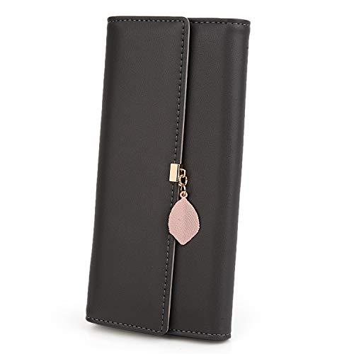 UTO Damen PU Leder Lange Brieftasche mit Blatt Anhänger Kartenhalter Handytasche Mädchen Reißverschluss Geldbörse Schwarzgrau