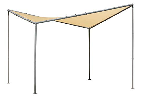 ShelterLogic 10' x 10' Del Ray Gazebo Canopy Charcoal Carbon Steel Frame and Marzipan Tan Water-Resistant and Sun Protection Cover