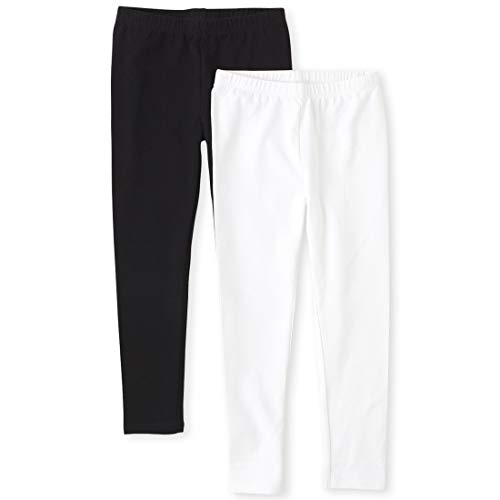 The Children's Place Girls' 2 Pack Basic Leggings, Black/White, Large (10/12)