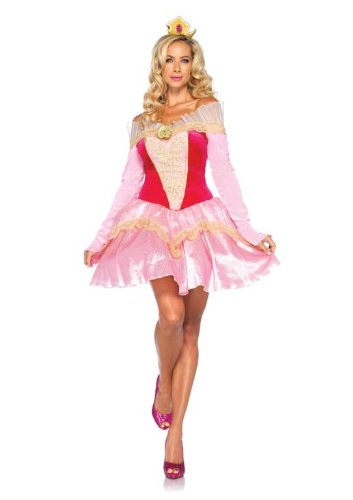 Leg Avenue Disney 2Pc. Princess Aurora Costume Dress with Organza Stay Up Collar and Crown Headpiece, Pink, Medium