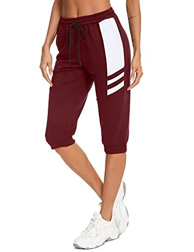 Sykooria Pantalones Piratas Mujer 3/4 Pantalones Chándal Mujer Pantalones Deporte para Yoga Fitness Jogger Entrenamiento con Bolsillos