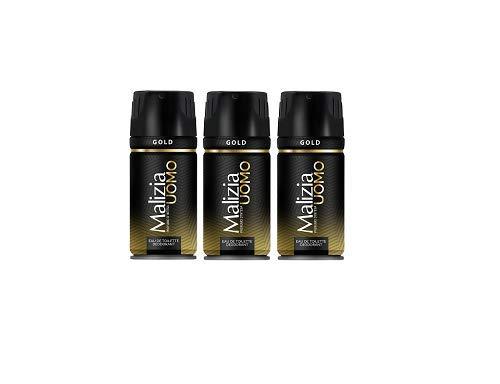 3x MALIZIA UOMO Gold mann deo 150ml deospray deo spray deodorant Edt Parfüm