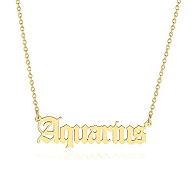 Aquarius Necklace for Women Zodiac Necklace Gold Old English Letter Astrology Constellation Horoscope Sign Pendant Necklace Birthday Gift