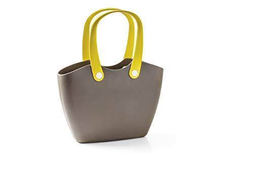 GF Garden, FOR The Living Bag, Einkaufstasche aus Kunststoff mit ergonomischen Henkeln, Farbe Schlamm-braun