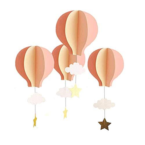 NUOBESTY Ciondolo di carta 3d mongolfiere nuvole stelle appese ornamenti per decorazioni per feste domestiche (rosa chiaro rosa scuro e beige), 4 pezzi