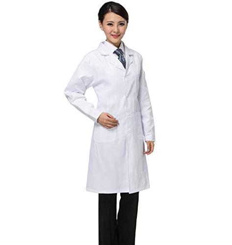pcb 白衣 長袖 メンズ レディース ドクター コート 医者 女医 コスプレ 用 診療衣 ポケット 付き MI5461 (女性 タイト, M)
