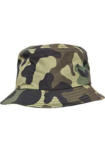 Flexfit Uni Damen/Herren Bucket Hat Unisex Camouflage Angler-Hut für Erwachsene, Green camo, one Size