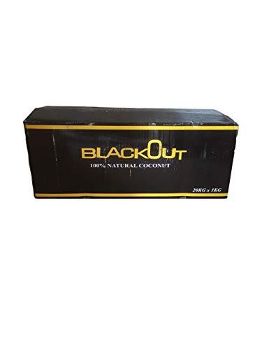 Blackout® Shisha Kohle | 20KG 64 Würfel in 1 KG Packung | Größe 26er Cubes | Premium Kokosnuss Naturkohle bis zu 120 Minuten Brenndauer