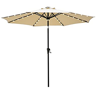 C-Hopetree 9ft LED Patio Market Umbrella Outdoor Parasol with Crank Winder, 8 Rib, Auto Tilt, Beige