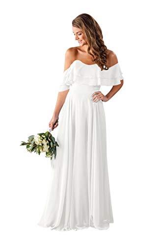 NuoQu Women's Off Shoulder Straps Chiffon Long Rufflers Shoulder Wedding Party Gowns Bridesmaid Dress White 14