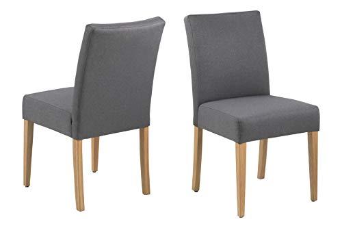 AC Design Furniture Emily Dining Chair, Polyester, Grey, L: 60 x W: 49.5 x H: 91 cm