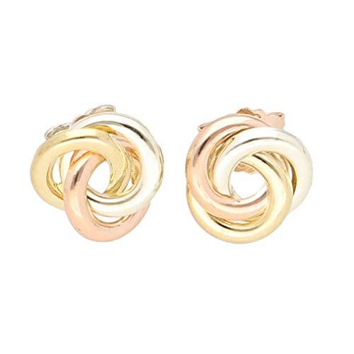 Pendientes de tuerca de oro amarillo de 9 quilates y oro rosa (9 x 9 mm de diámetro)   El regalo perfecto para una dama especial   Jollys Jewellers