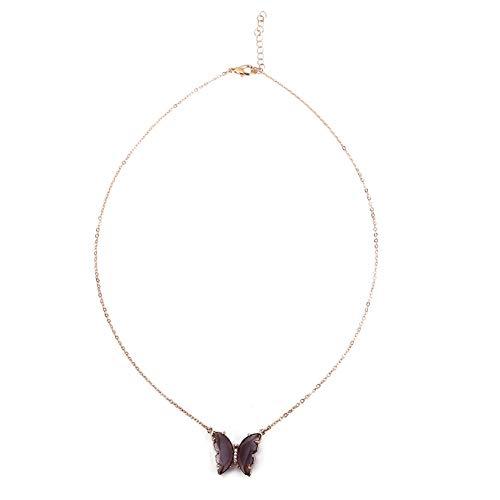 SJHFG Pendientes de mariposa para mujer, collar con adorno de anillo, accesorio encantador, brillante, regalo para mujer, collar morado oscuro