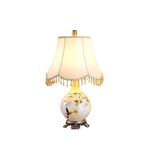 MISS KANG Lámpara de mesa estilo americano, cristal colgante vidriera tallada base lámpara de mesa E27 ahorro de energía lámpara de mesa, uso. Qingchunw