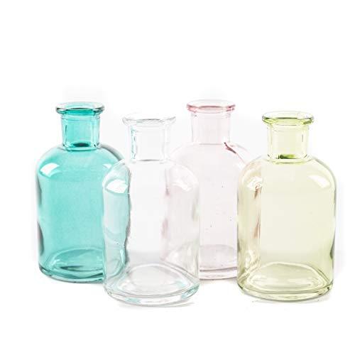 Apotheker-Flasche Blumenvase | knuellermarkt24.de | 4er Set Frühling Tischdeko Kerzenhalter bunt Deko blau rosa klar grün