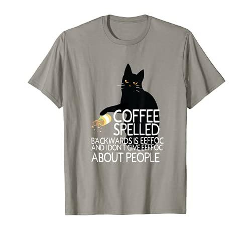 Kaffee Dinkel Rückwärts Ist Eeffoc Lustige Schwarze Katze T-Shirt