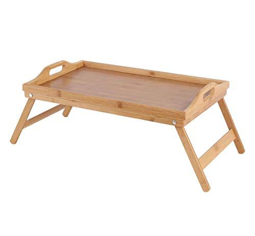 QUVIO Bedtafeltje dienblad bamboe/Uitklapbare pootjes/Ideaal voor ontbijt op bed/Ontbijt dienblad/Houten bed tafel - Bruin