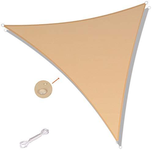 SUNNY GUARD Toldo Vela de Sombra Triangular 3x3x4.25m Impermeable a Prueba de Viento protección UV para Patio, Exteriores, Jardín, Color Arena