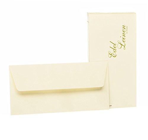 Rössler 2032705802 - Edel Leinen - Briefumschlagpack DIN lang mit Seidenfutter, 20 Stück, ivory