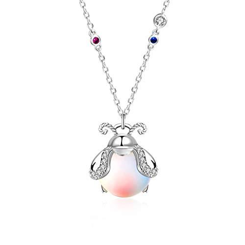 VIccoo Collar de Moda, Collar con Colgante curativo de Cristal de Piedra Lunar arcoíris de Mariquita de Plata de Ley 925-2