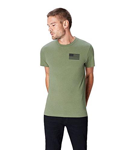Marca Amazon - find. Camiseta Bronx para Hombre, Verde (Tea 001), M, Label: M