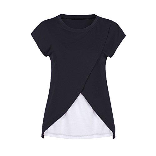 Camicie e casacche da premaman,Kword Camicia da donna per maternità, Camicia a doppio strato con maniche avvolgibili, Maglietta per l'allattamento (Nero, L)