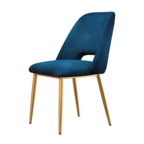 Dining Chairs Modern Fabric Tulip Chairs Ergonomic Office Chair Cushioned Soft Seat Metal Legs Living Room Bedroom Kitchen (Color : Blue)