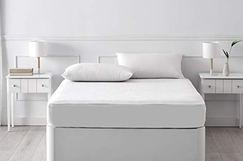 Pikolin Home - Protector de colchón de algodón de rizo con acabado dermoprotector de Aloe Vera, impermeable y transpirable