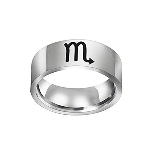 Anillo de símbolo de constelación, anillos de constelación del zodiaco, joyería de cumpleaños, Libra, escorpio, anillo de sagitario (escorpio&11)