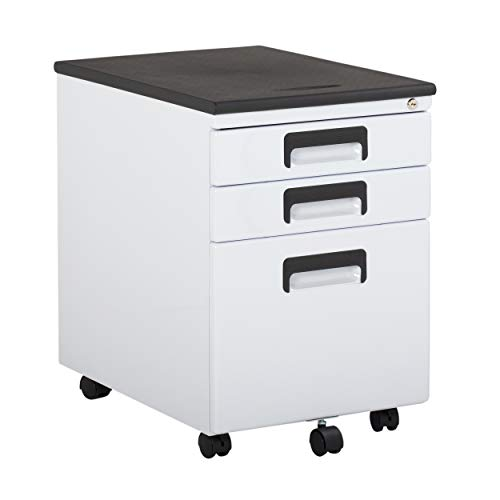 """Craft & Hobby Essentials White Metal 3, Vertical, Mobile Filing Cabinet 15.75"""" W x 22"""" D, Craft Supply Storage with Locking Drawers"""