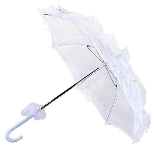 Yajiun Regenschirm für Hochzeit, Spitze, Weiß, Aluminiumlegierung, 60 x 54 cm, weiß (Weiß) - 15017904@#YLCRARx