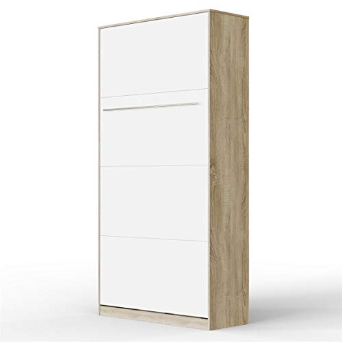 SMARTBett Standard 90x200cm Vertical Oak Sonoma/White   Murphy Bed, Folding Wall Bed, Fold Down Bed, Fold-Away Bed, Foldable Bed, Cabinet Bed
