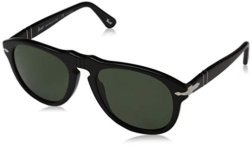 Persol 0649 Shiny Black Frame/Grey Polarized Lens Plastic Sunglasses, 52mm
