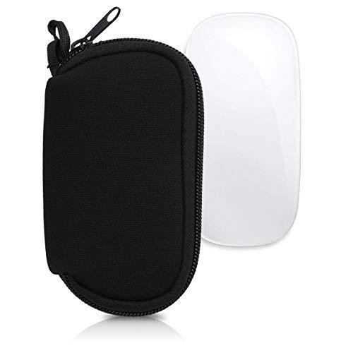 kwmobile Custodia in Neoprene con Zip per Apple Magic Mouse 1/2 - Astuccio Porta Mouse PC - Sacchetto con Cerniera - Borsa Nero