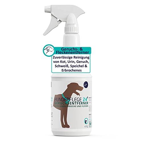 Hundepflege24 Geruchsentferner & Fleckenentferner Spray 1l - Extrem Starke Wirkung Bei Hunde & Katzen Urin, KOT, Erbrochenes, Schweiß Geruch, Speichel - Natürlicher Geruchsneutralisierer & Reiniger