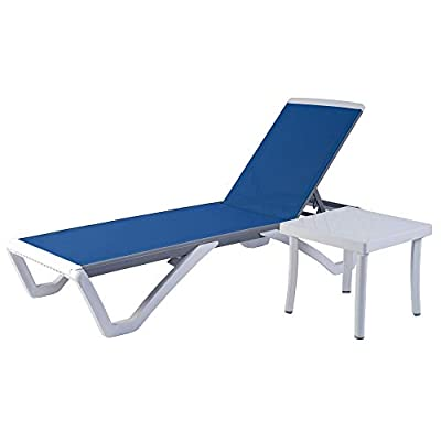 Kozyard Alan Full Flat Alumium Frame and Polypropylene Resin Legs Patio Reclinging Adustable Chaise Lounge with Sunbathing Textilence for All Weather, 5 Adjustable Position(Blue Textilence W/Table)