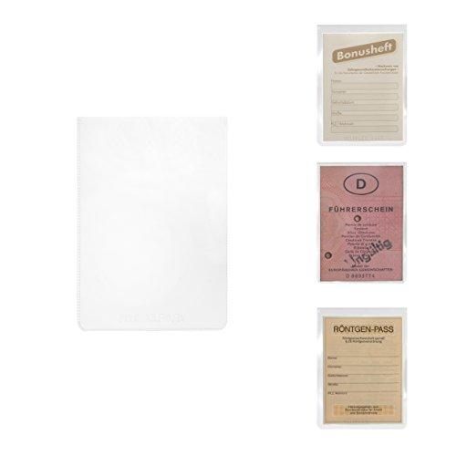 Ausweishülle und Schutzhülle | für DIN A7 Formate | Hülle Weichplastik transparent | geeingnet für Dokumente Führerschein (alt) Bonusheft Sozialversicherungsausweis Röntgenpass