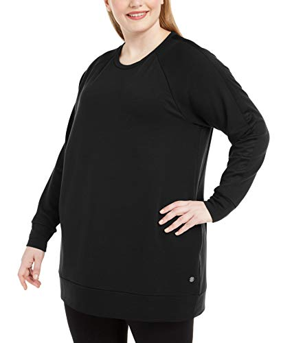 Ideology Womens Plus Fitness Workout Tunic Top Black 2X