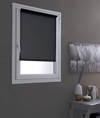 MADECOSTORE Estor Enrollable Tamisant, Negro, 70 x 190 cm (Tela L67 cm)