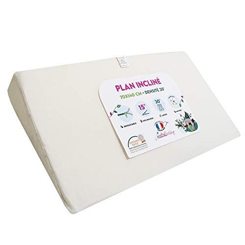 Modulit – Piano inclinato 100% cotone biologico per lettino 70 x 140 cm, sfoderabile, fabbricazione francese