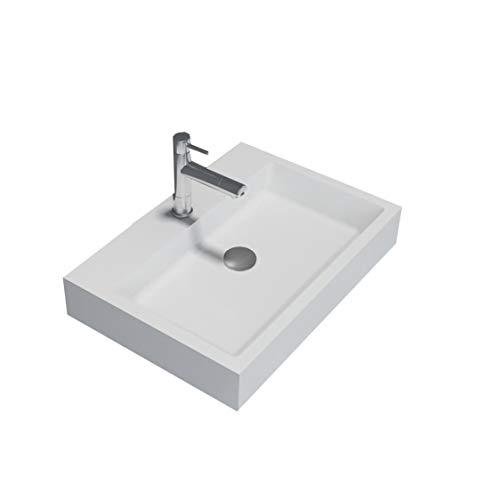 Opzet waskom of hangende wastafel PB2142 in massief oppervlak (Solid Stone) - mat wit - 60 x 42 x 10 cm