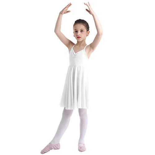 Agoky Mädchen Ballettkleid mit Chiffon Ballettrock Ärmellos Tanzkleid Gymnastik Turnanzug Fitness Bekleidung gr. 92 98 104 110 116 122 128 140 152 164 Weiß 110-116/5-6 Jahre