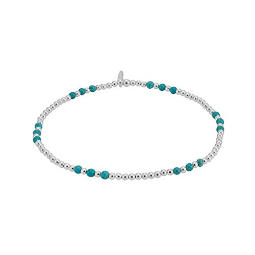 Silverly Women's .925 Sterling Silver 2 mm Small Thin Blue Ball Beaded Bead Elastic Stretch Bracelet