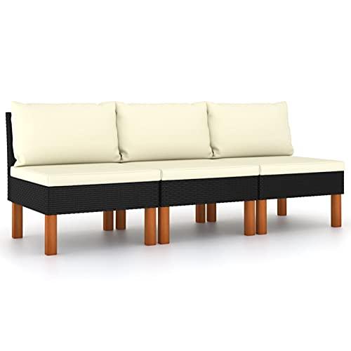 Tidyard 3X Sofás Centrales Seccionales con Cojines Hogar Muebles Sofá de Salón Asiento Intermedio de Jardín Patio Exterior Negro 60,5 x 64,5 x 67 cm